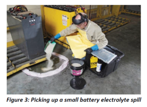 Picking up a small battery electrolyte spill